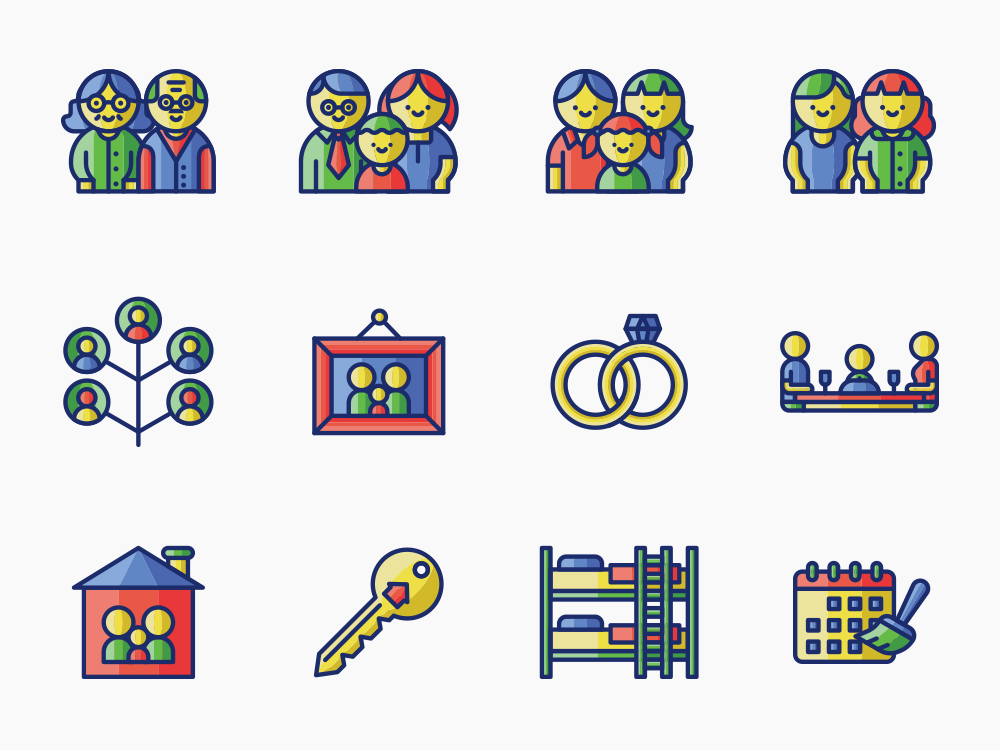 70 Family Life Icon Set 1
