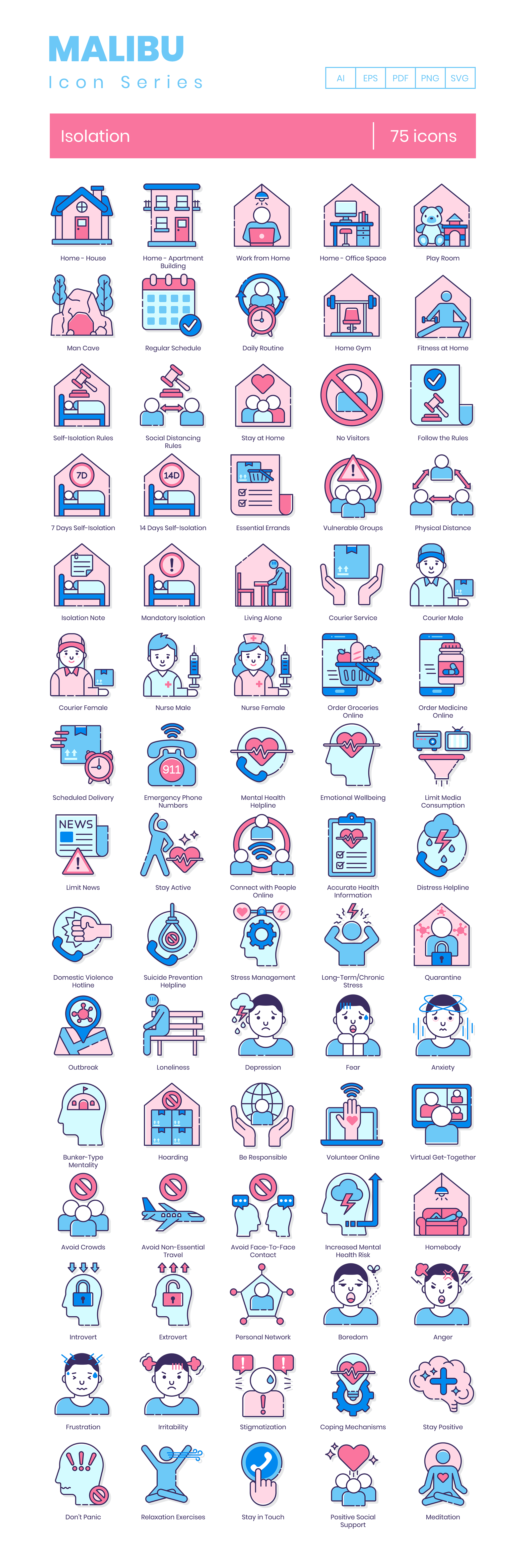isolation icon set