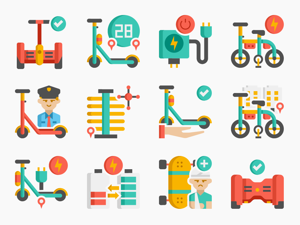 personal transportation icon set