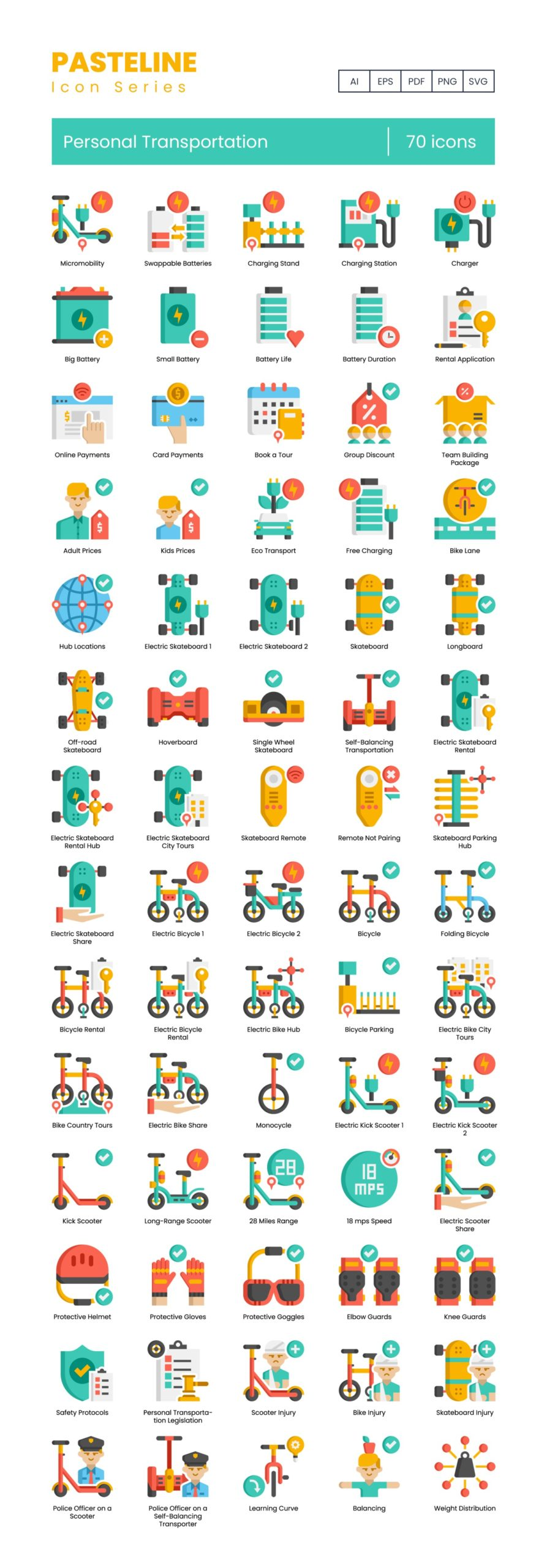 personal transportation vector icons