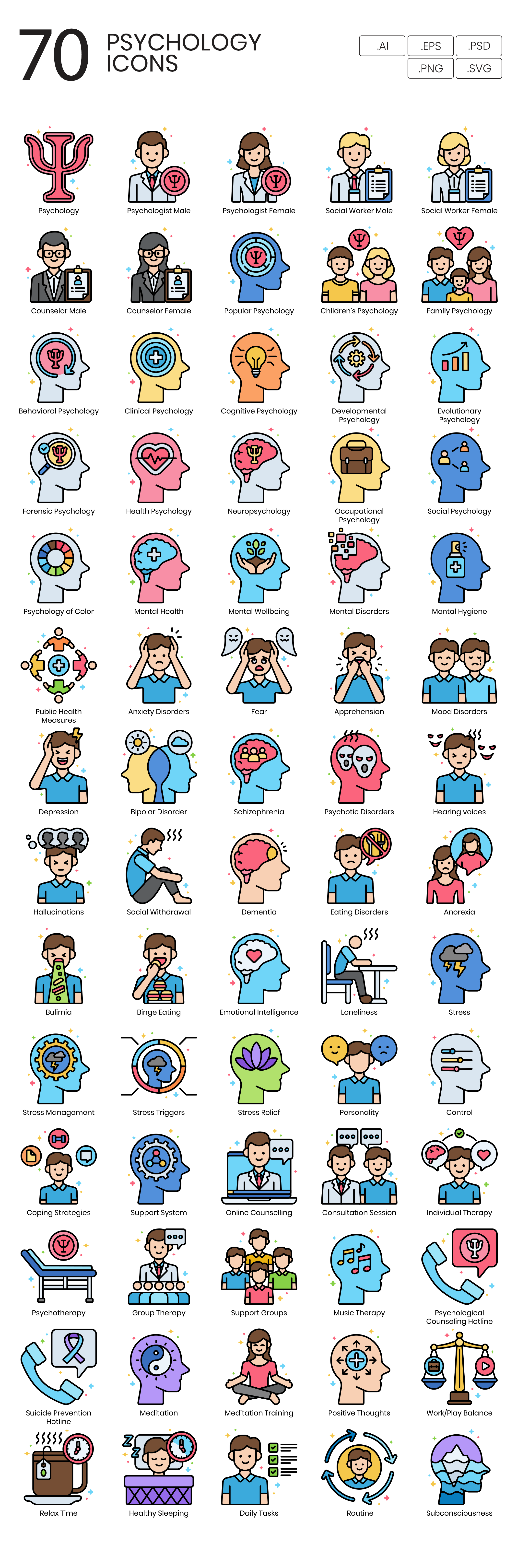 psychology vector icons