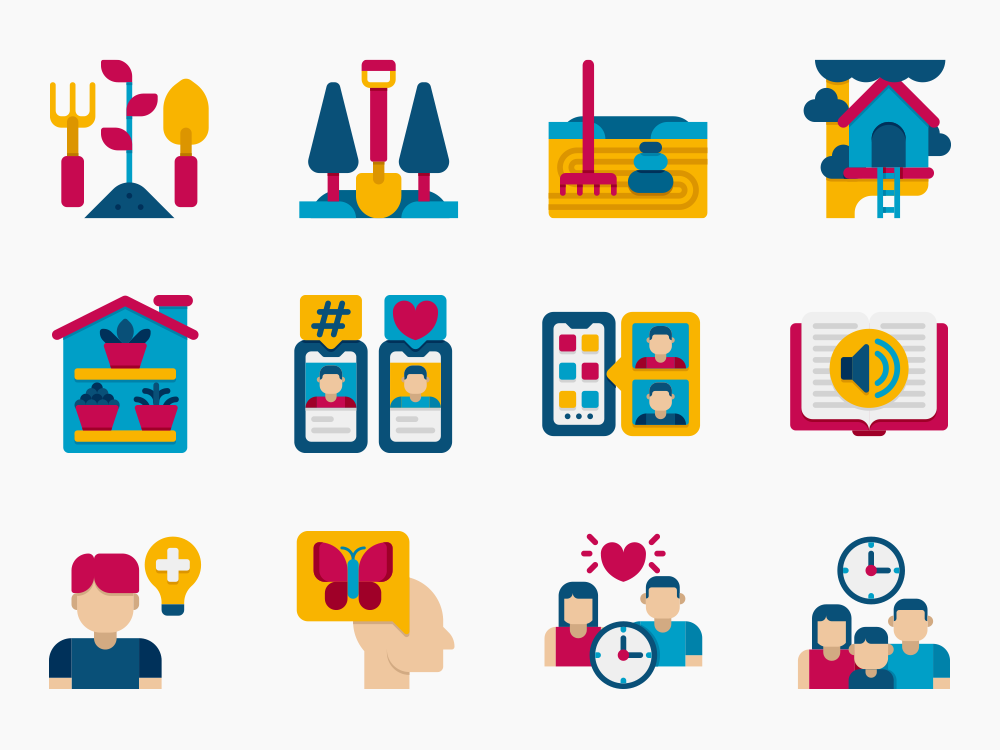 stay at home vector icons