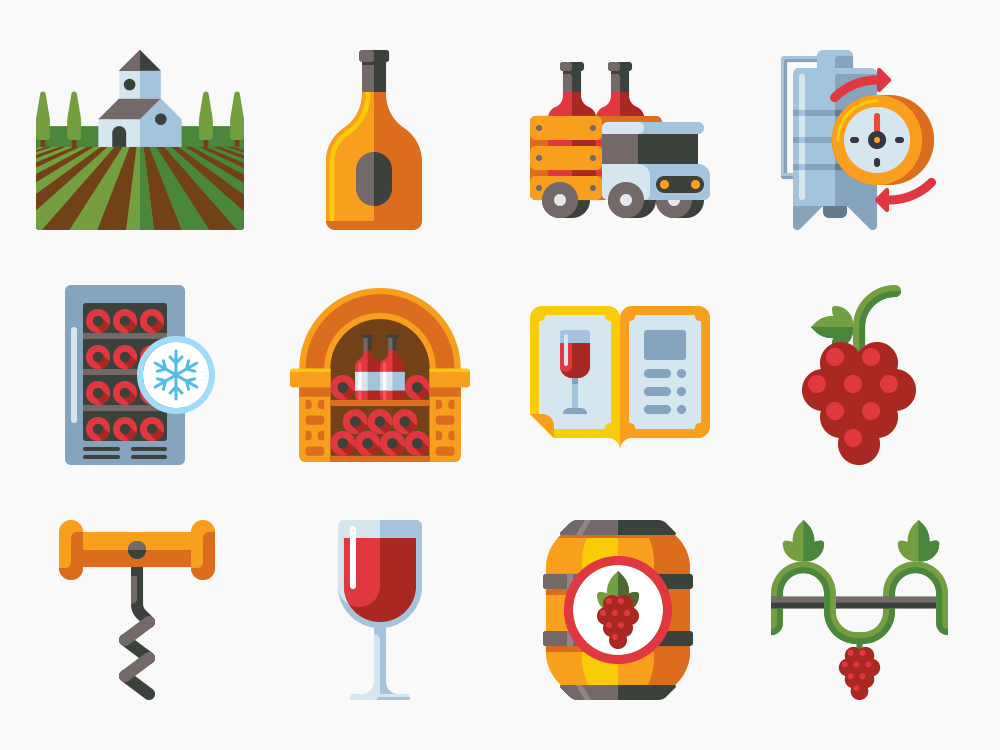 winery icon set