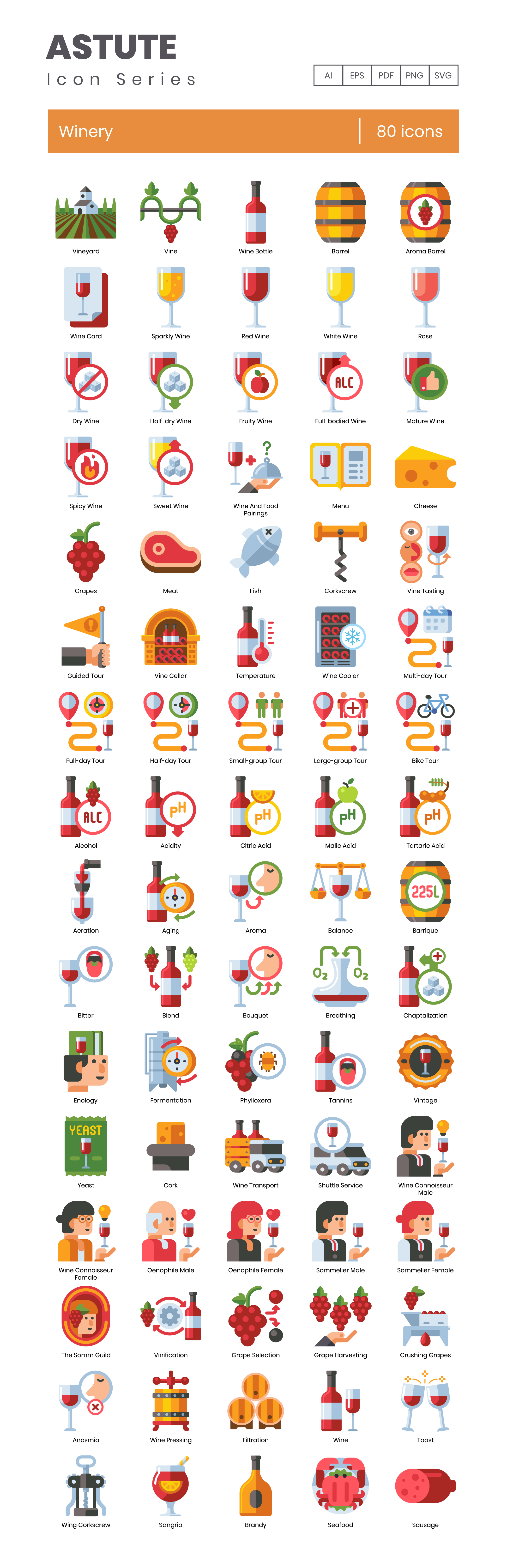 winery vector icons