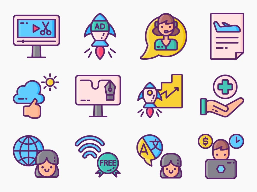 90 Digital Nomad Icon Set 3