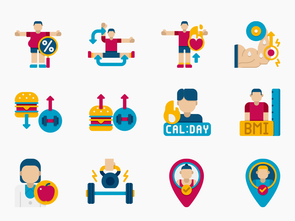 90 Fitness & Healthy Living Icon Set 4