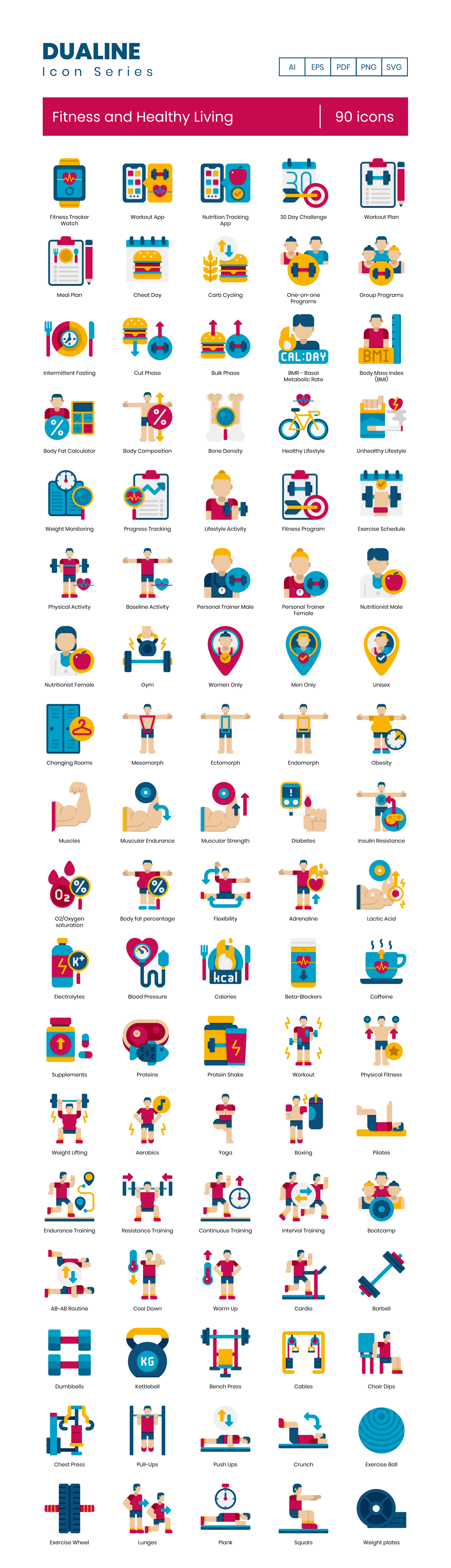 fitness & healthy living vector icons