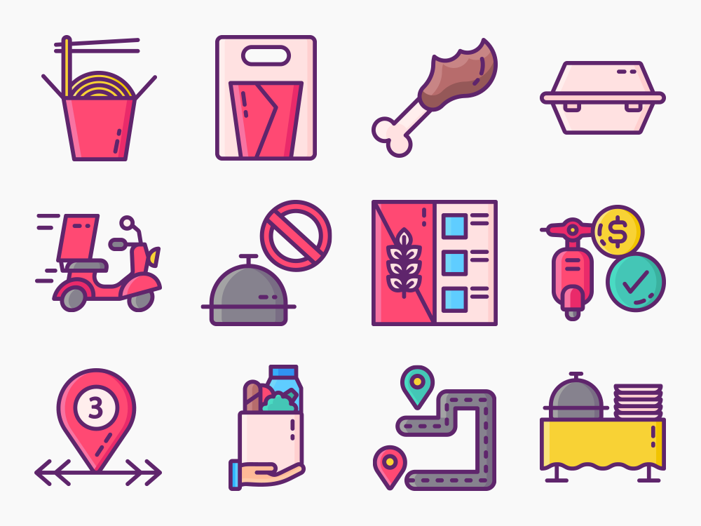 65 Food Delivery Icon Set 1