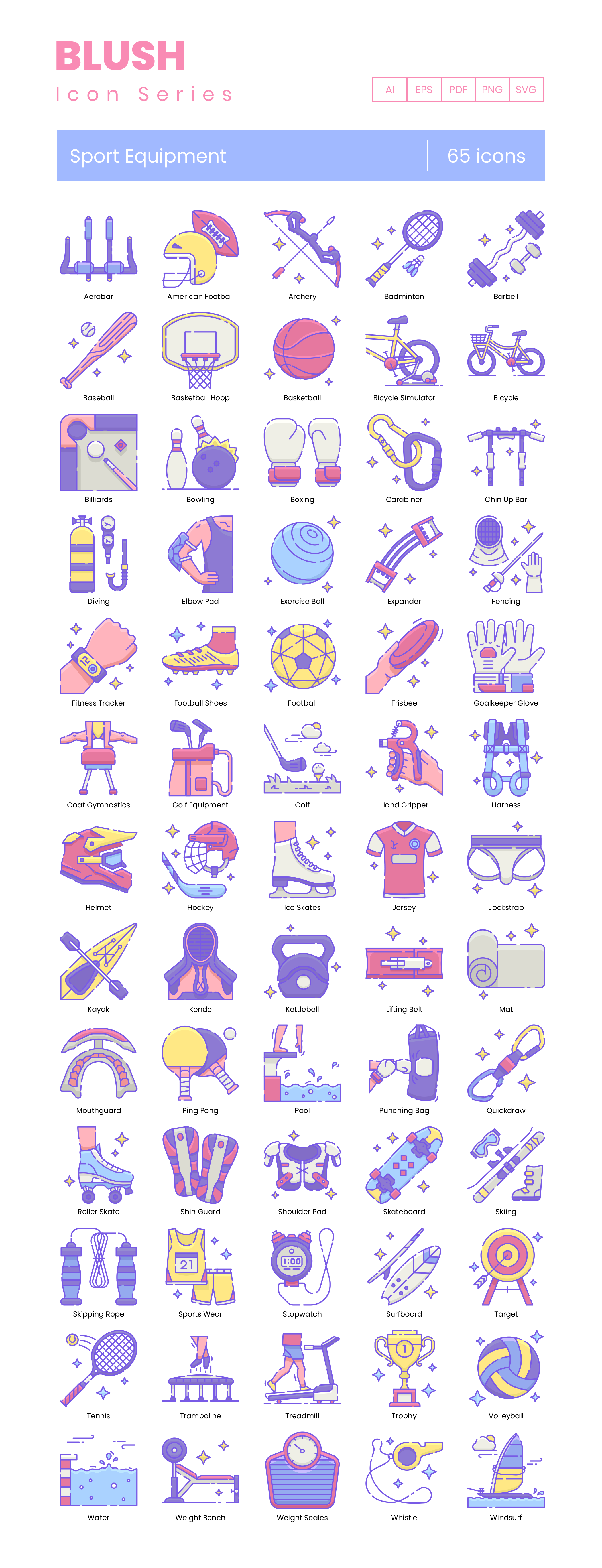 sports equipment vector icons