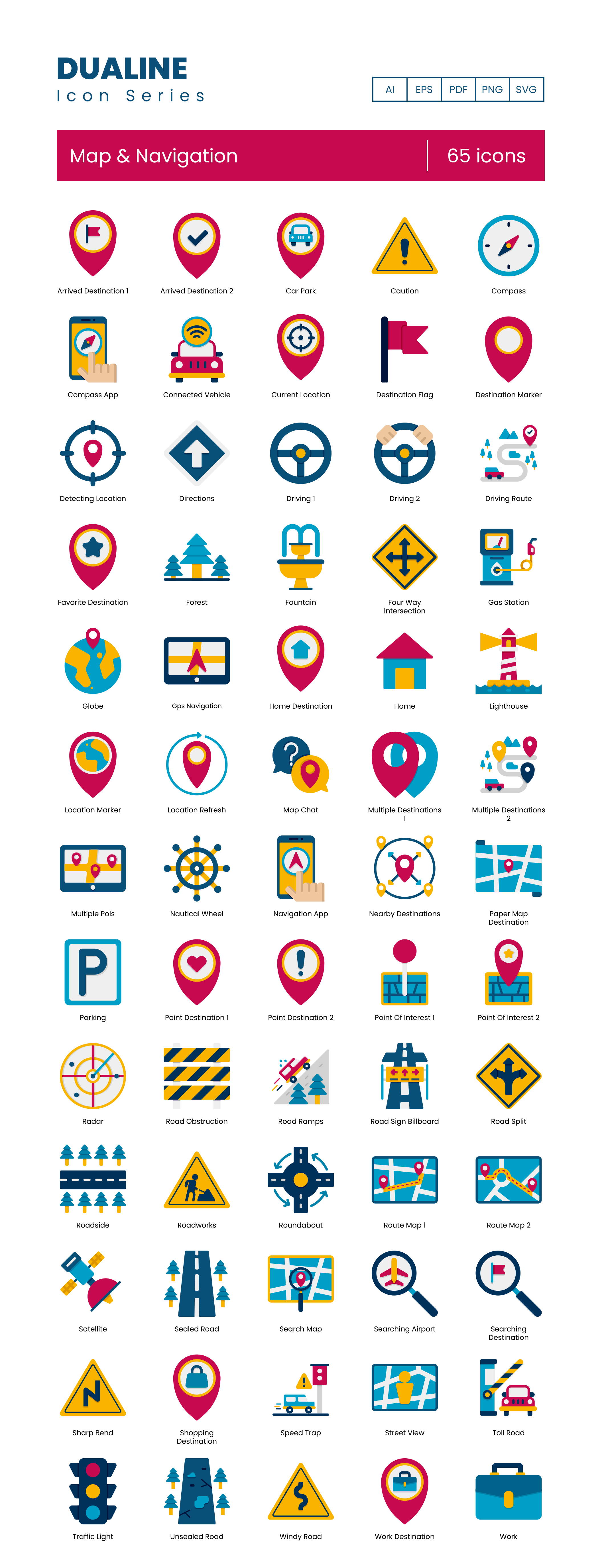 65 Map and Navigation Vector Icons Preview Image