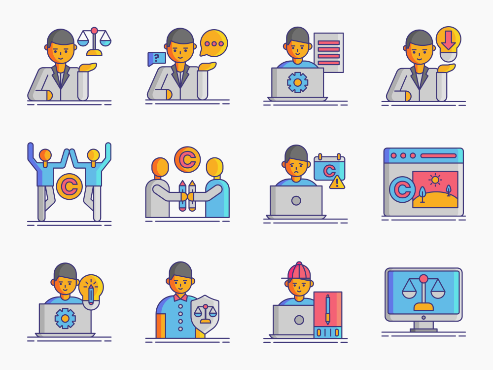 Copyright Law Icon Set Featured Image