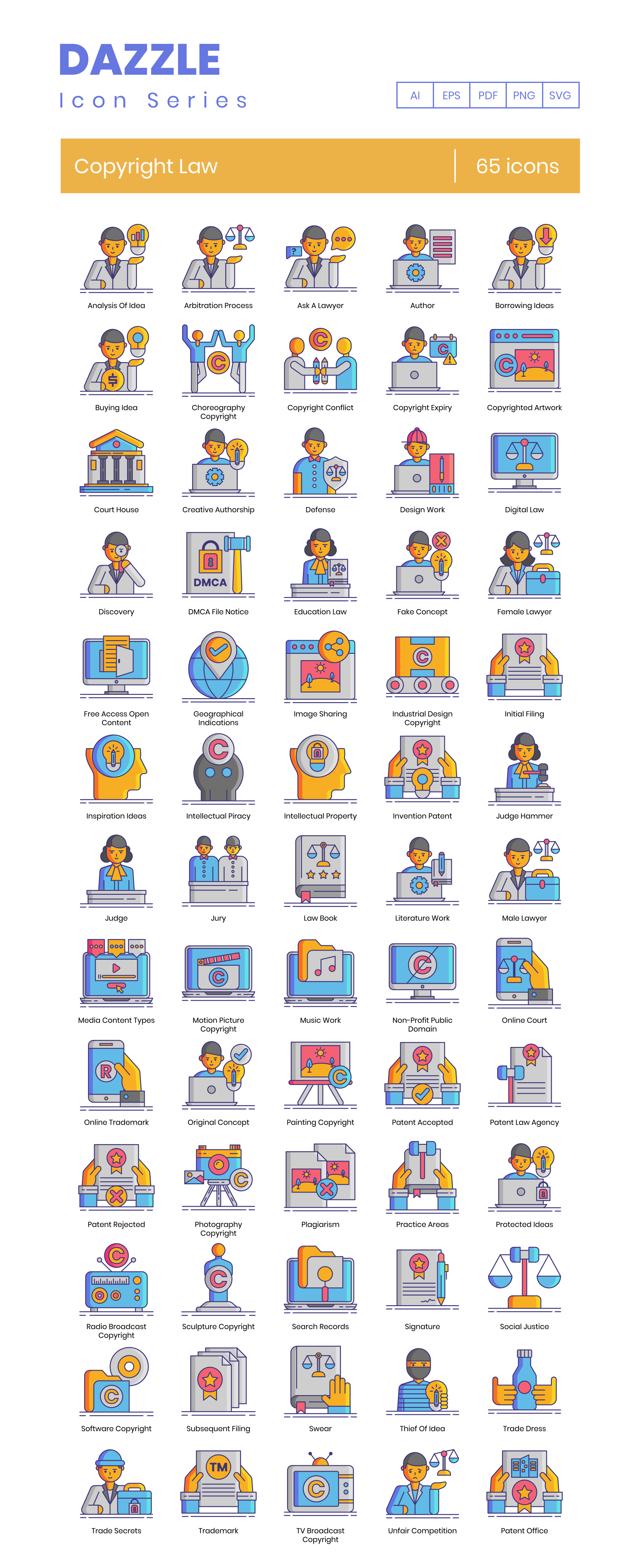 Copyright Law Vector Icons Preview Image