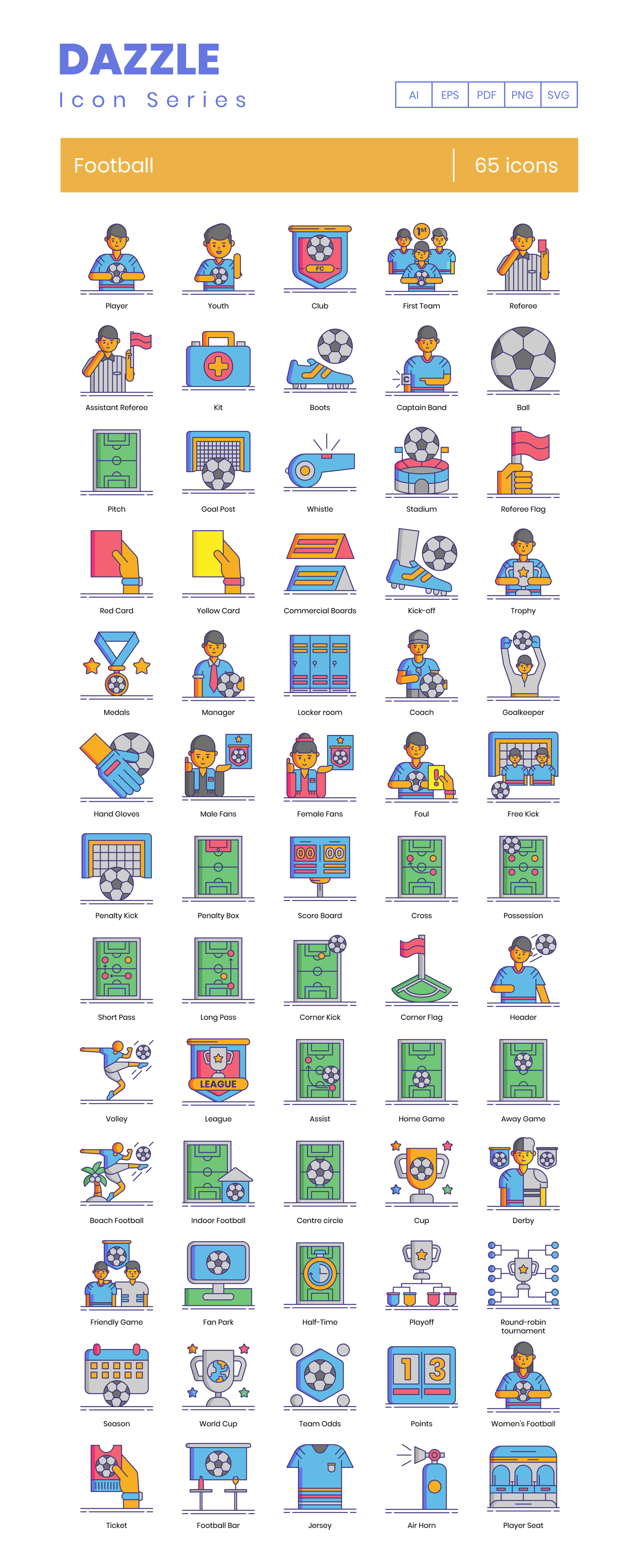 Football (Soccer) Vector Icons Preview Image