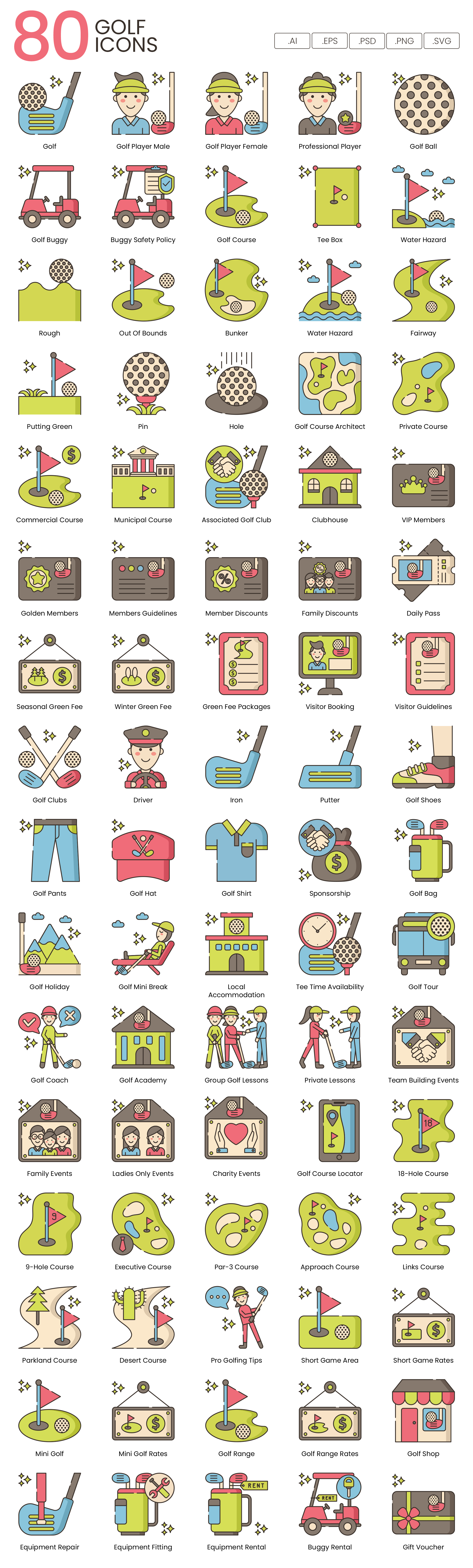 Golf Vector Icons Preview Image