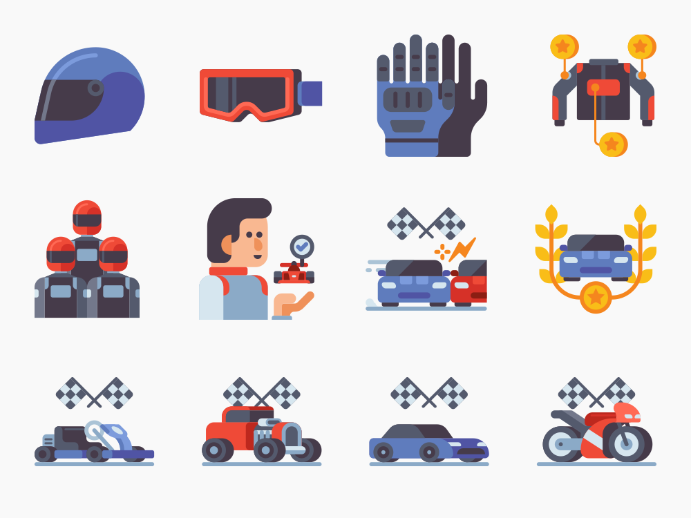 Motor Sports Icon Set Featured Image