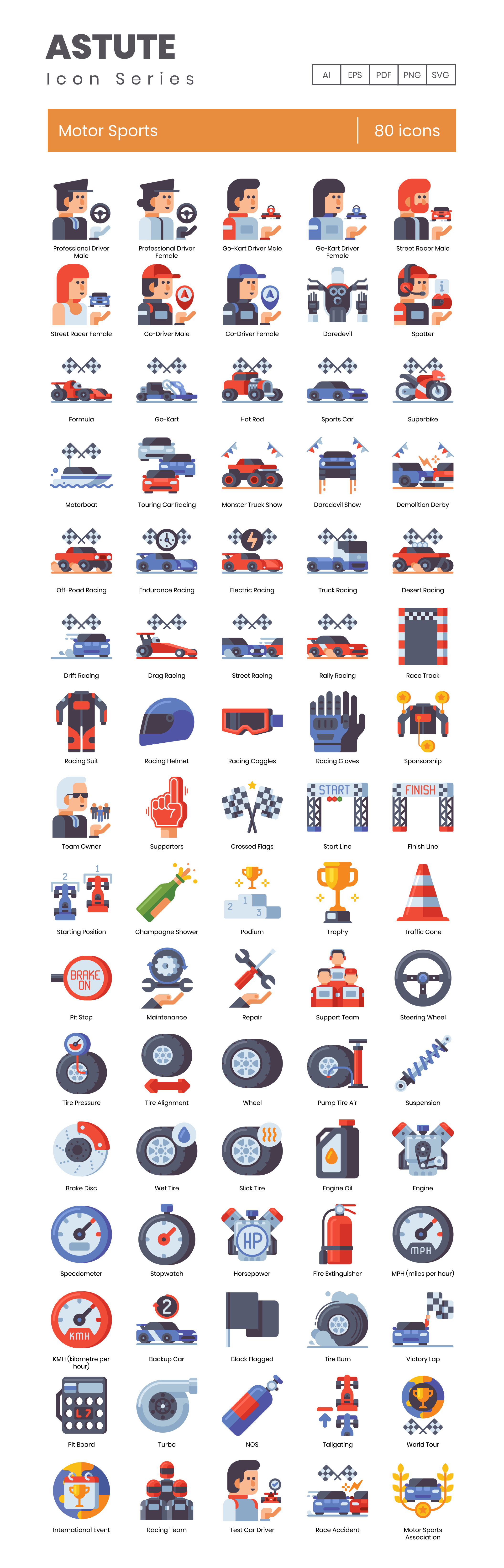 Motor Sports Vector Icons Preview Image