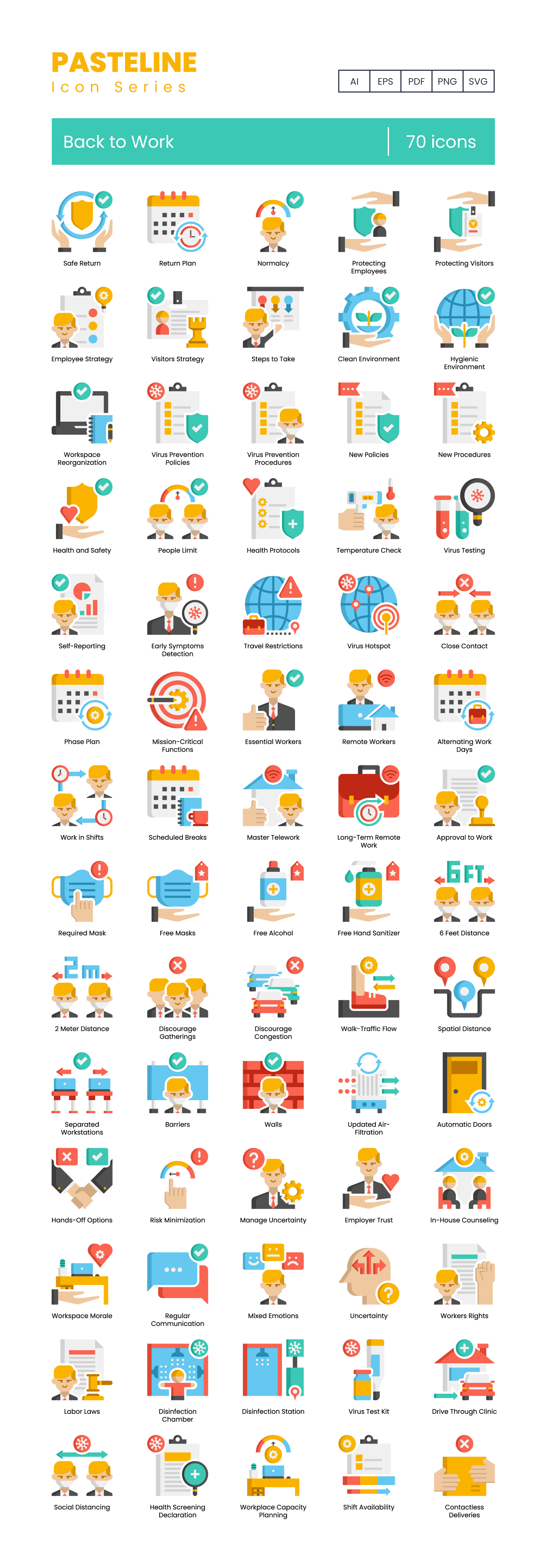 Back To Work Vector Icons Preview Image