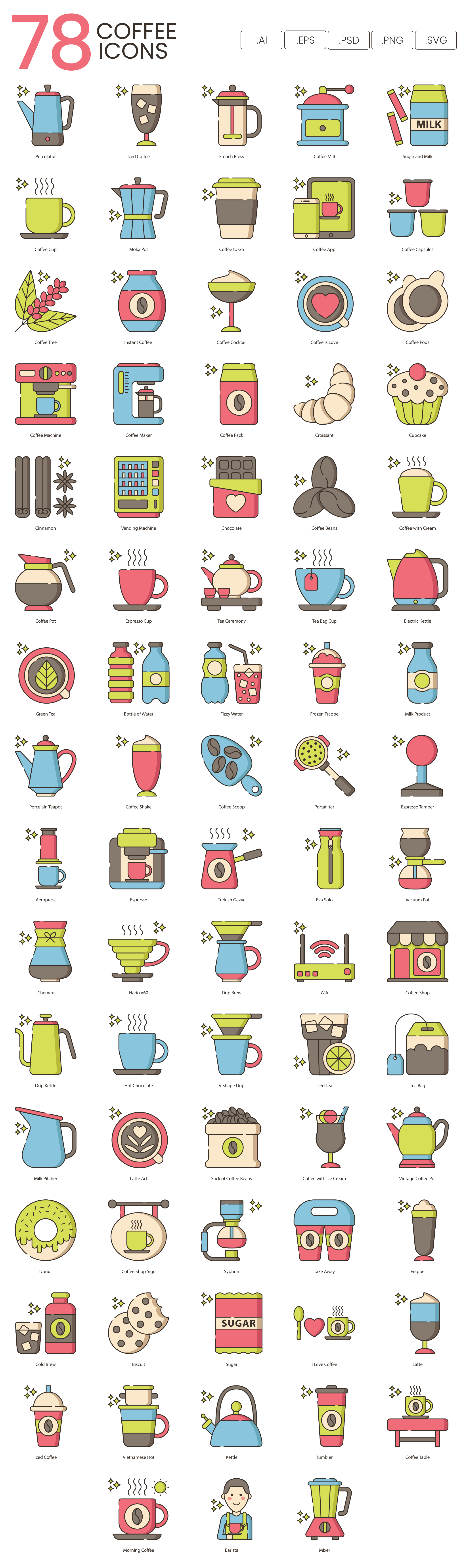 Coffee Vector Icons Preview Image