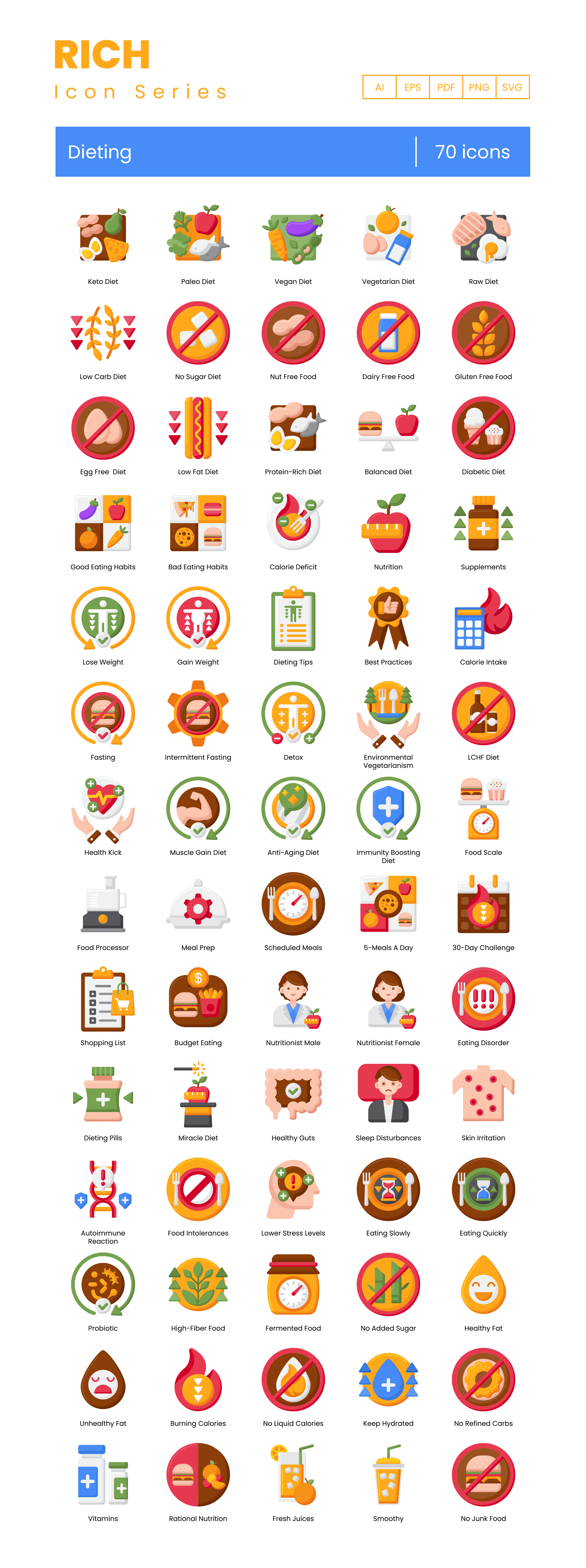 Dieting Vector Icons Preview Image