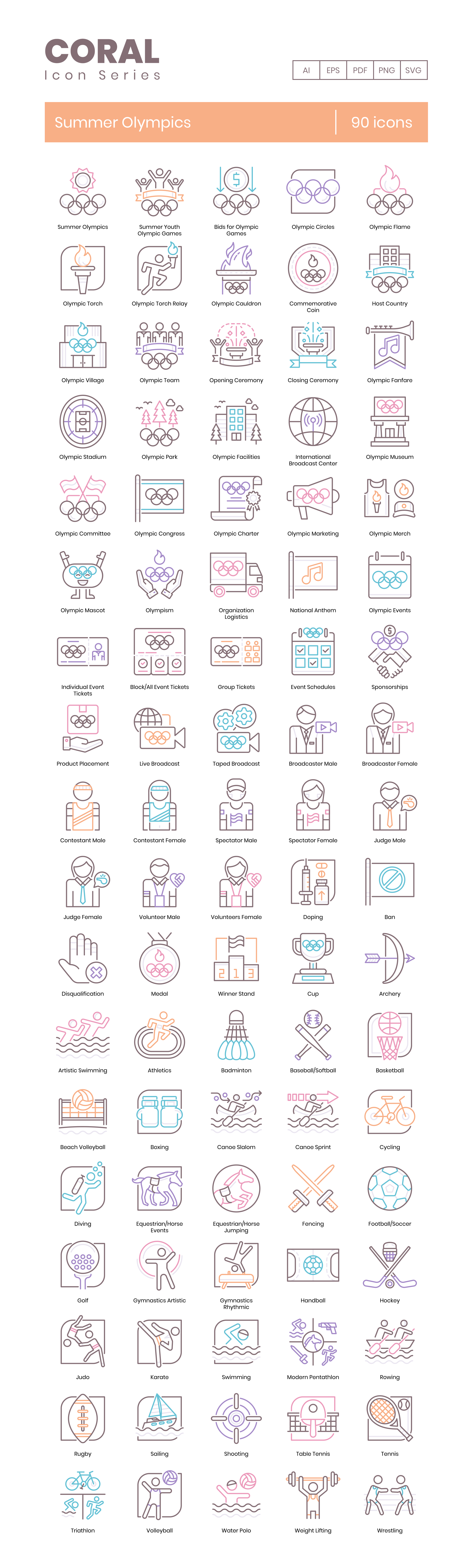 Summer Olympics Vector Icons Preview Image