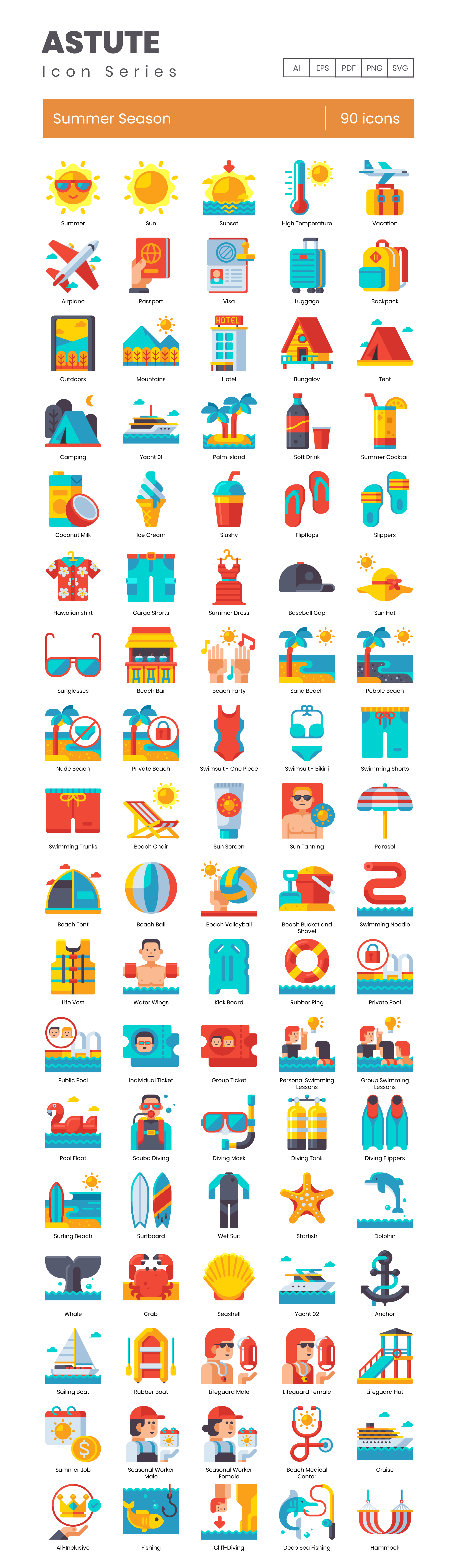 Summertime Vector Icons Preview Image