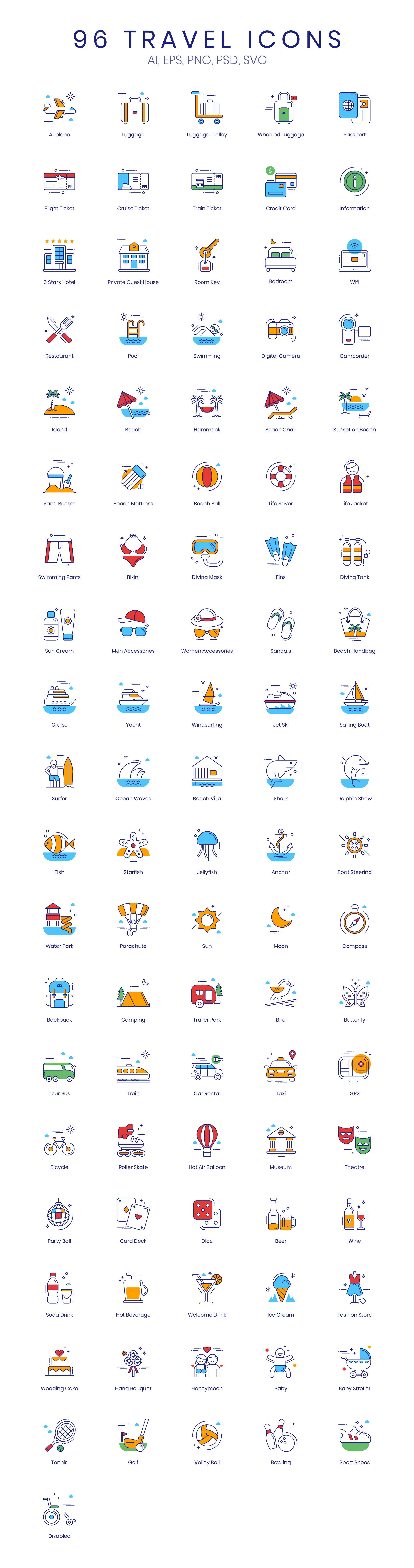Travel Vector Icons Preview Image