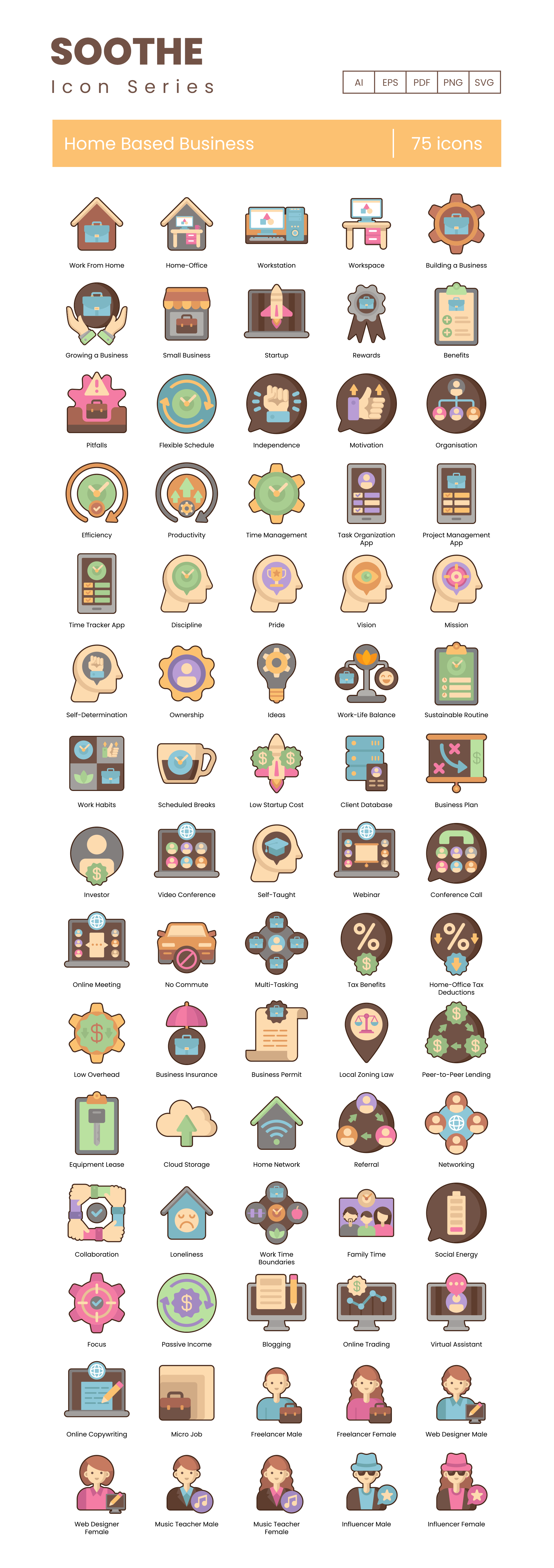 Home Based Business Vector Icons Preview Image