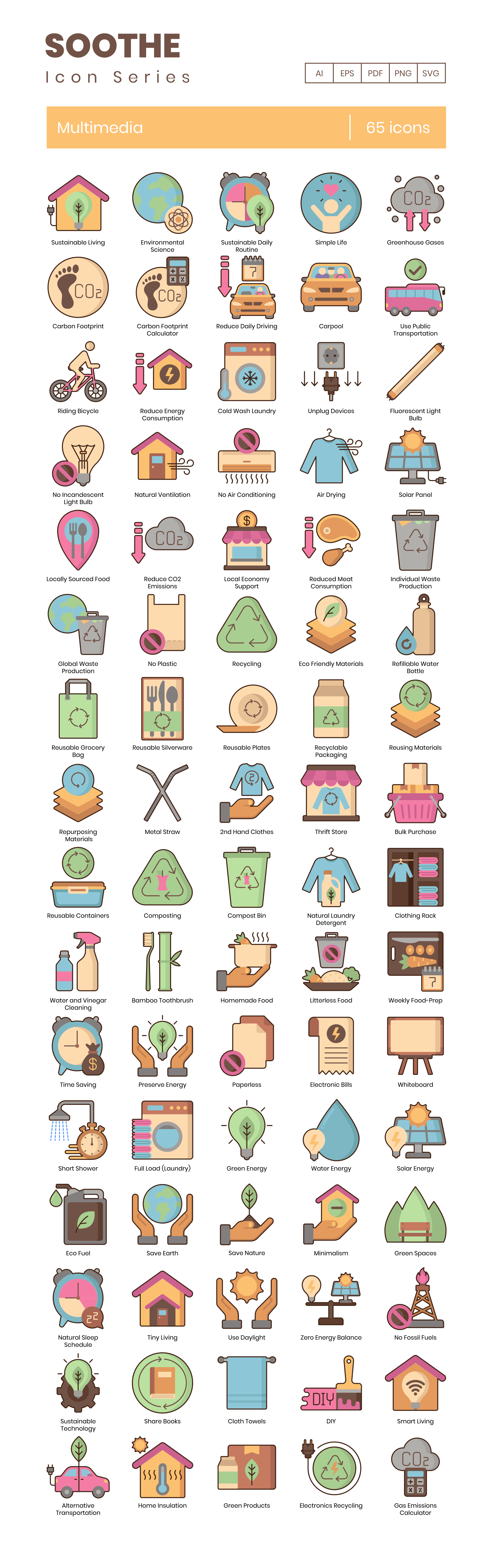 Sustainable Living Vector Icons Preview Image