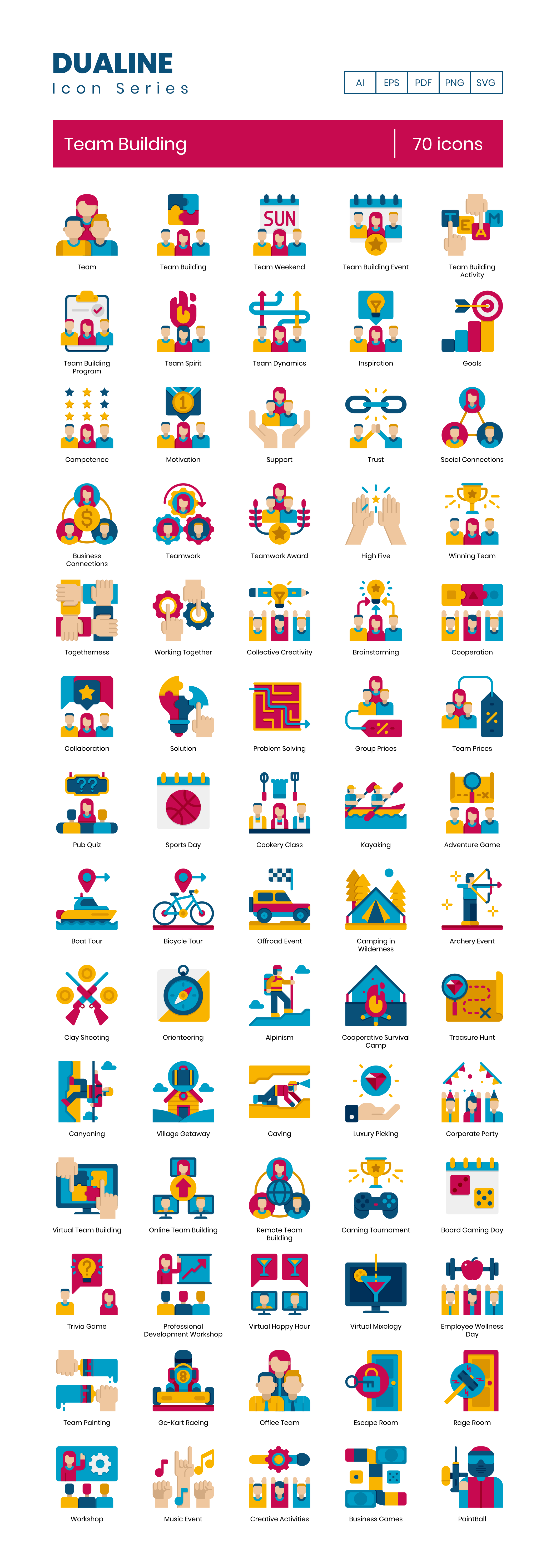 Team Building Vector Icons Preview Image