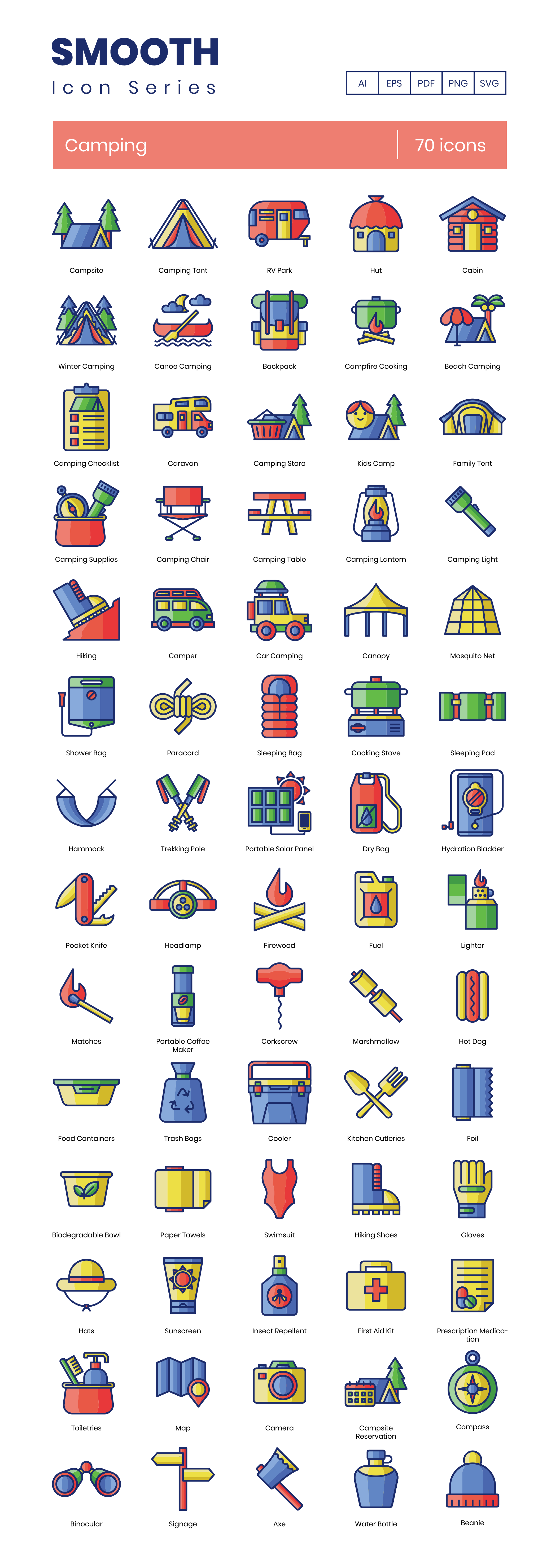 Camping Trip Vector Icons Preview Image