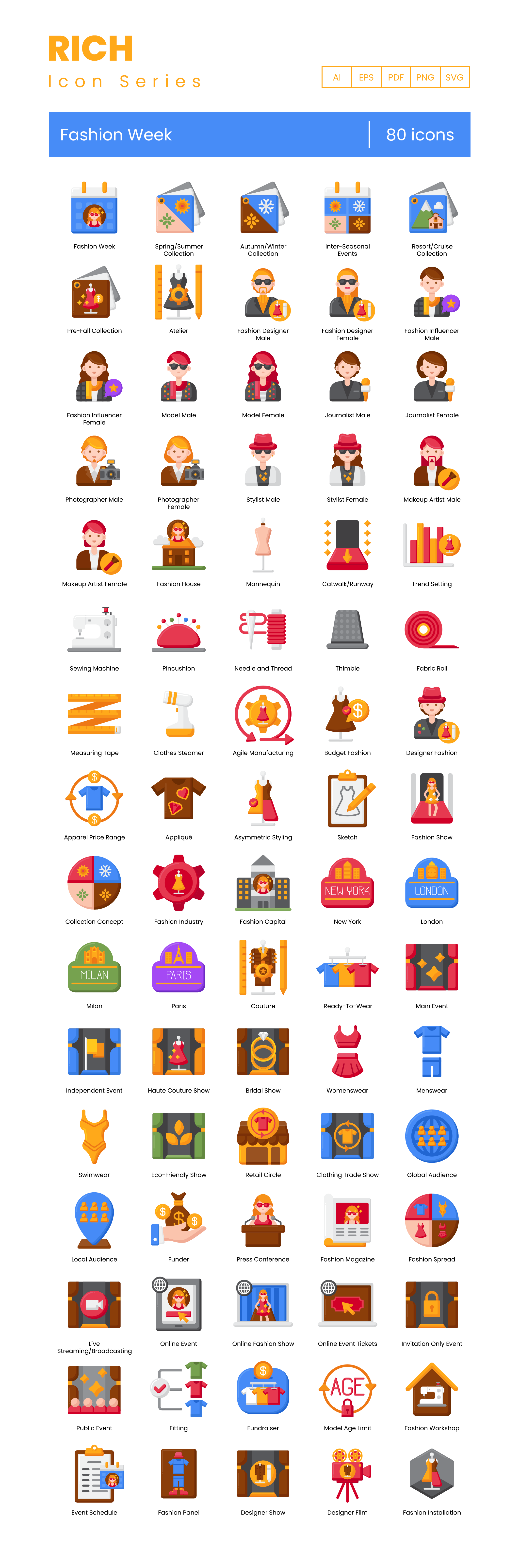 Fashion Week Vector Icons Preview Image
