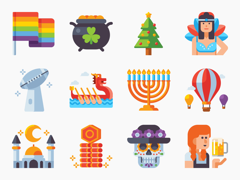 Festivals and Holidays Icon Set Featured Image