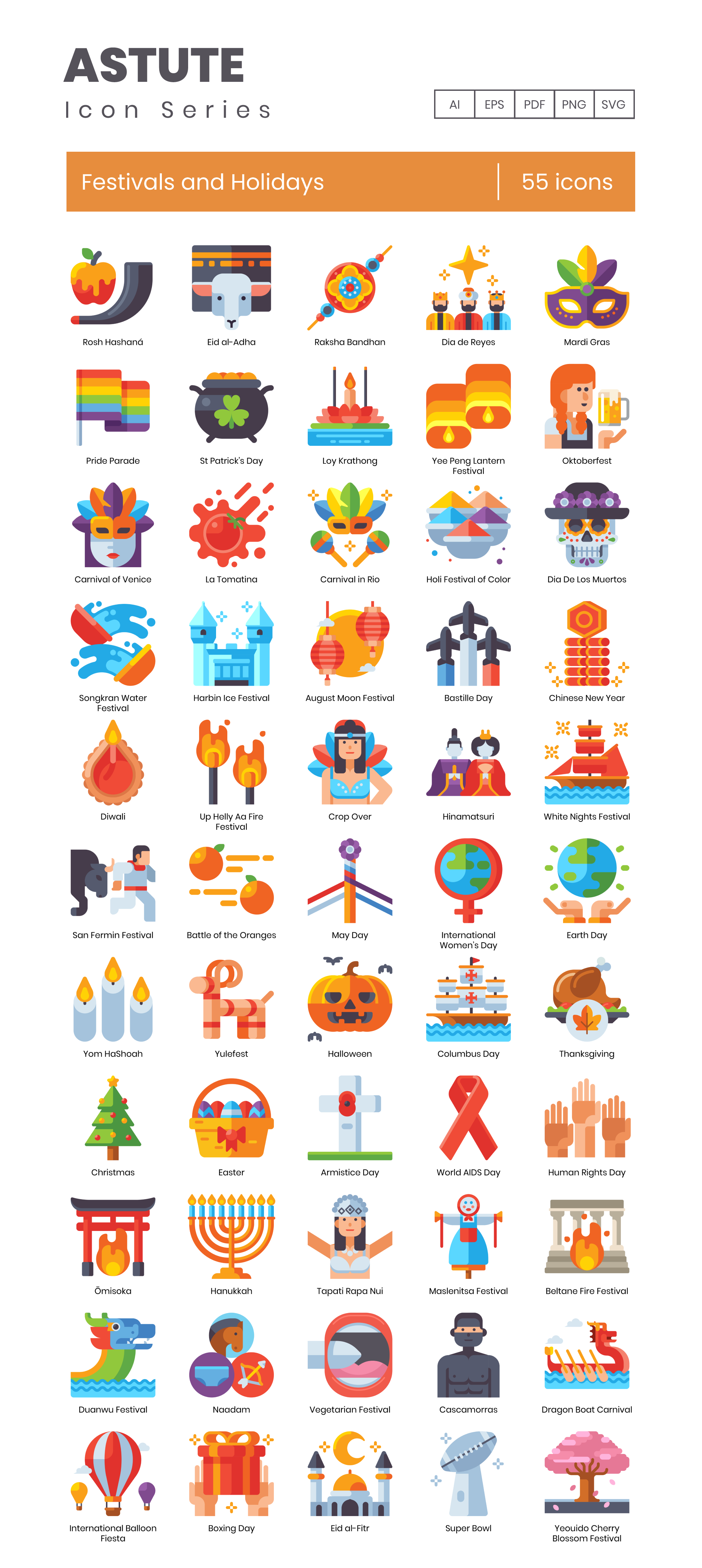 Festivals and Holidays Vector Icons Preview Image