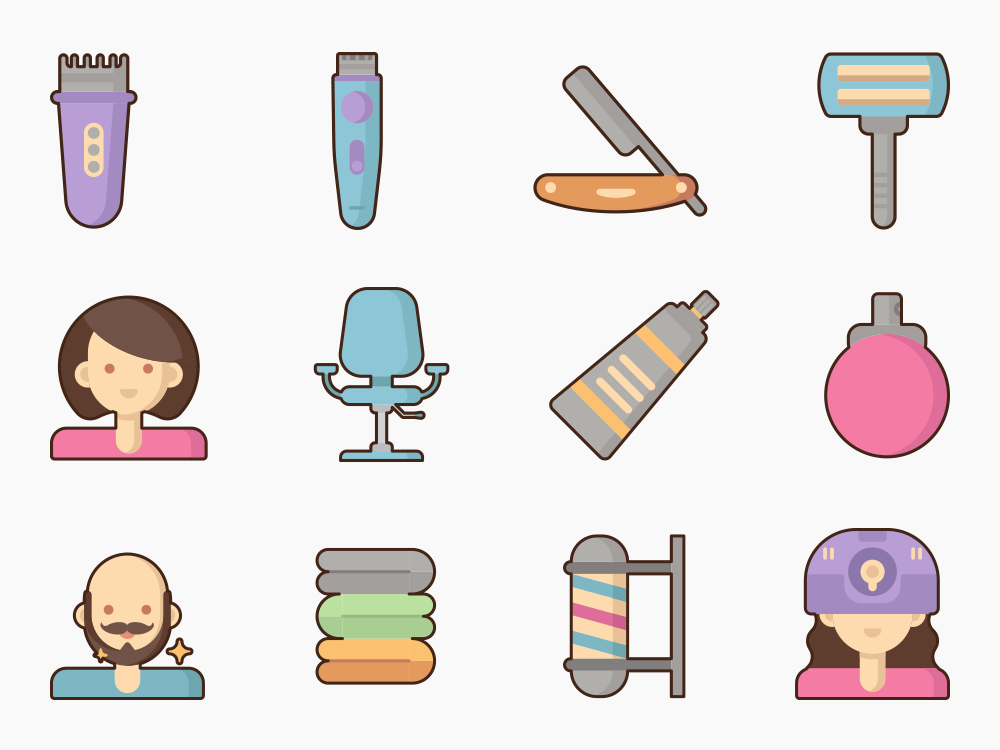 Hairdresser and Barber Shop Icon Set Featured Image