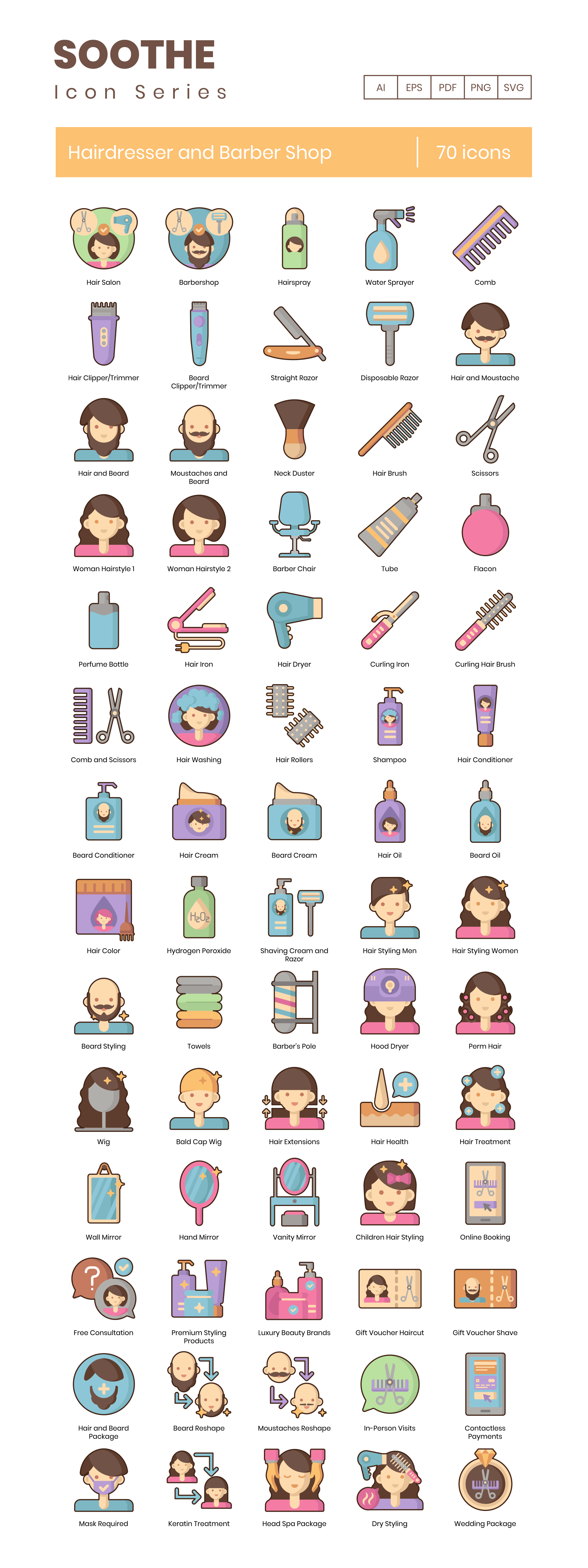Hairdresser and Barber Shop Vector Icons Preview Image