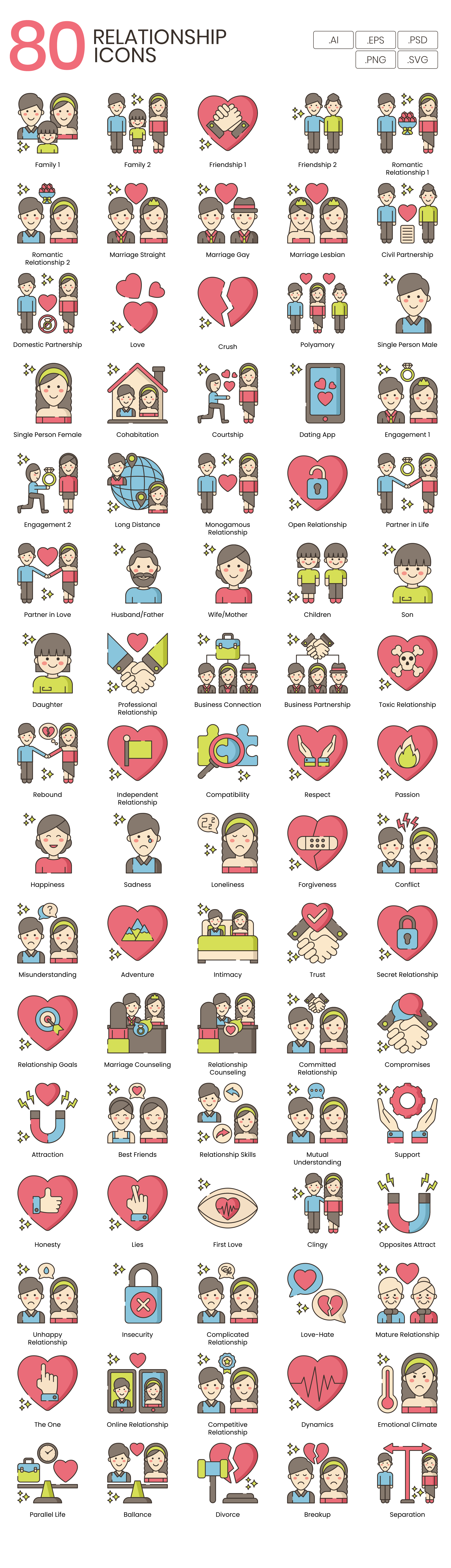 Relationships Vector Icons Preview Image