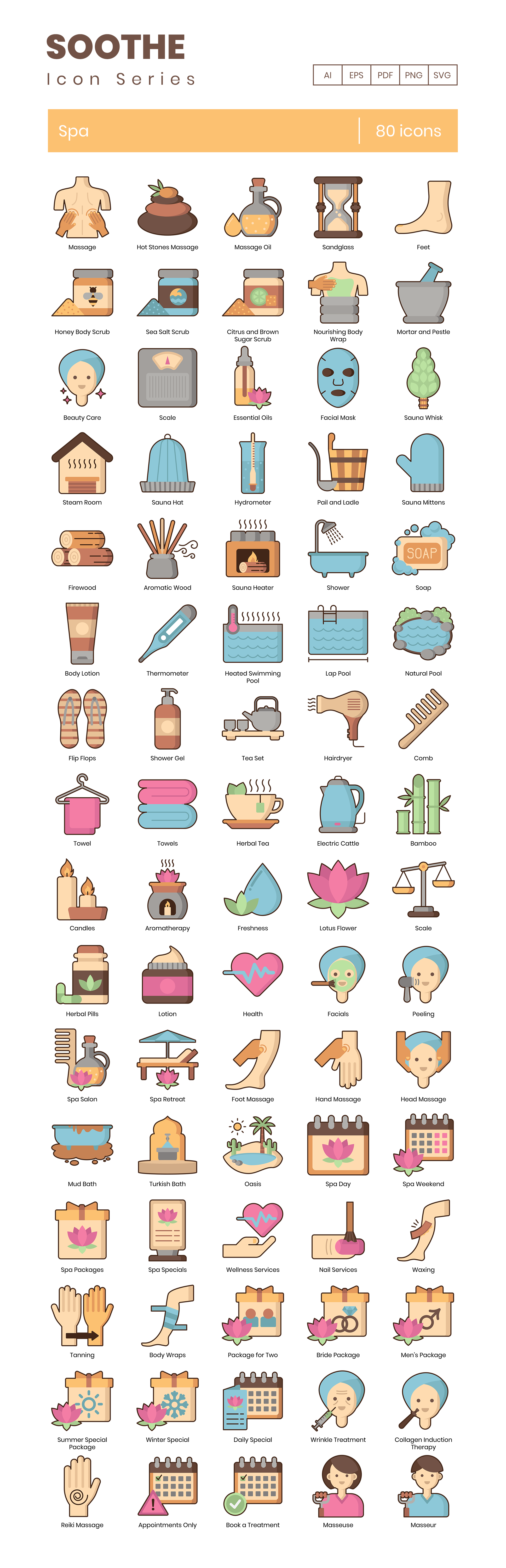 Spa Vector Icons Preview Image