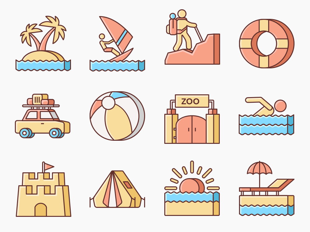 Summer Vacation Icon Set Featured Image