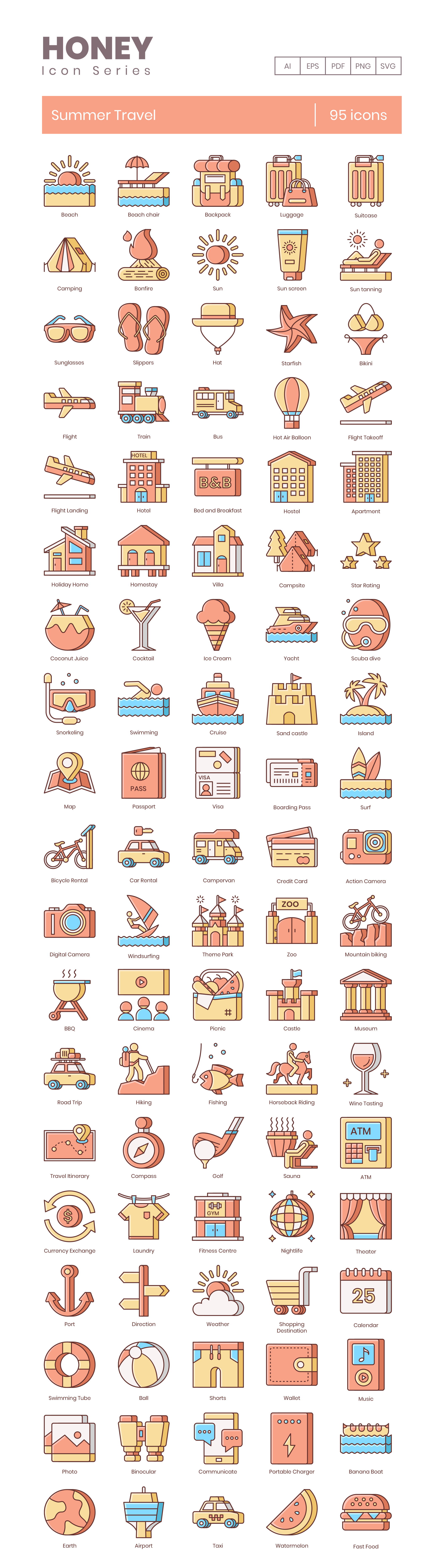 Summer Vacation Vector Icons Preview Image