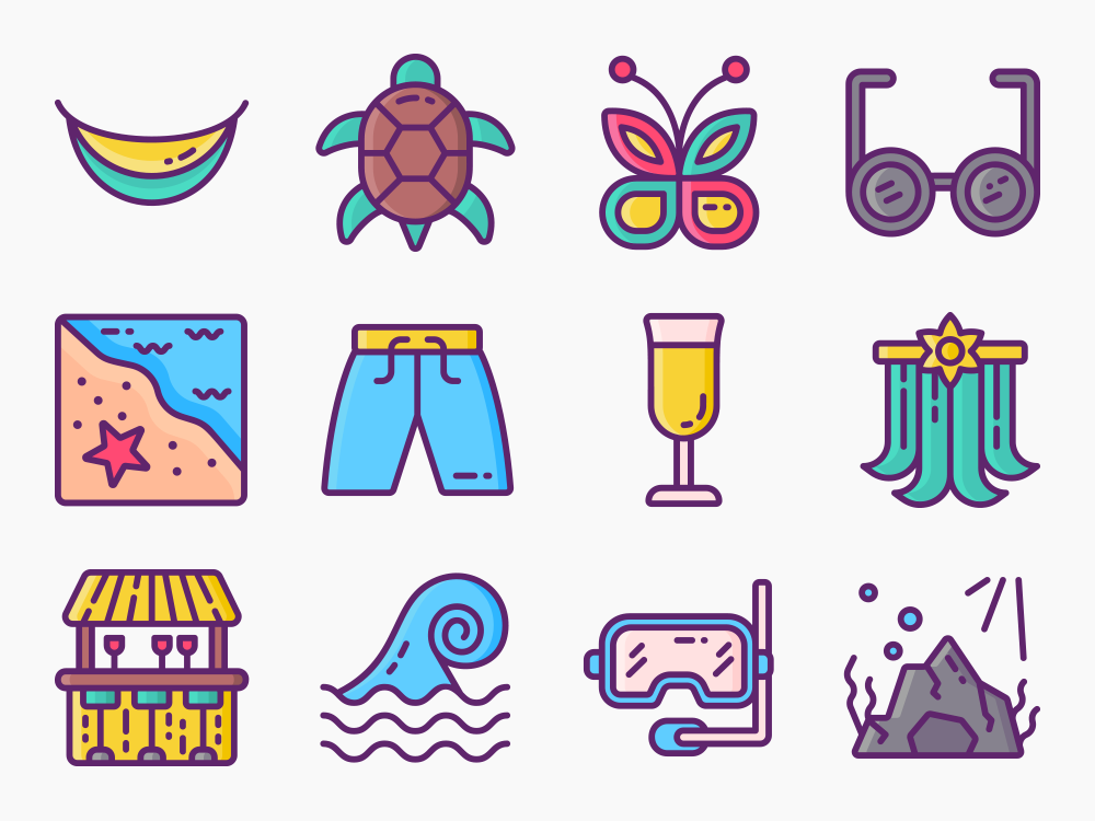 Tropical Paradise Icon Set Featured Image