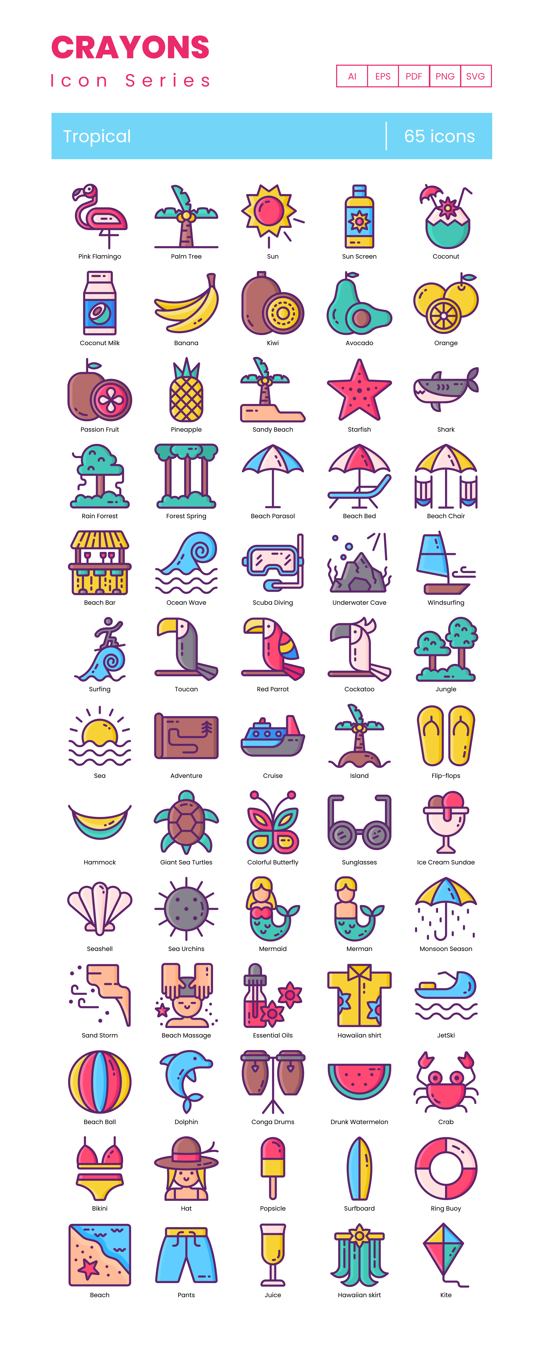 Tropical Paradise Vector Icons Preview Image