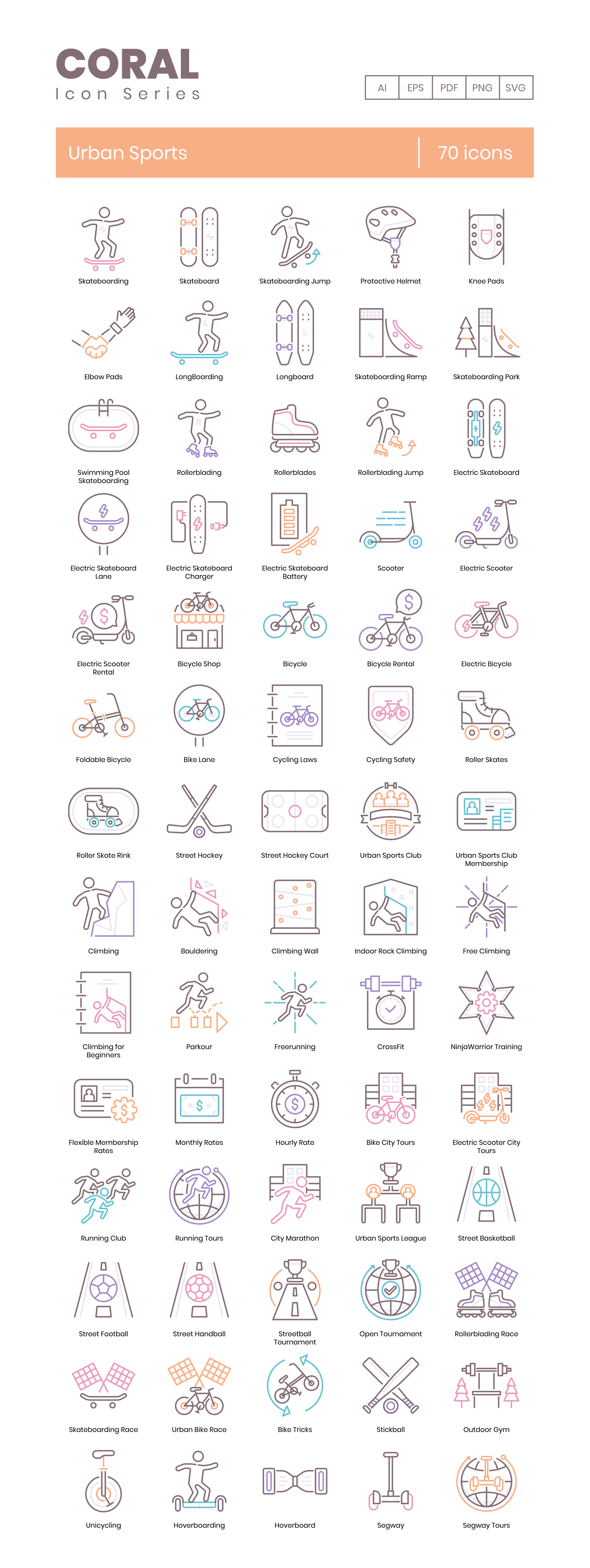 Urban Recreation Vector Icons Preview Image