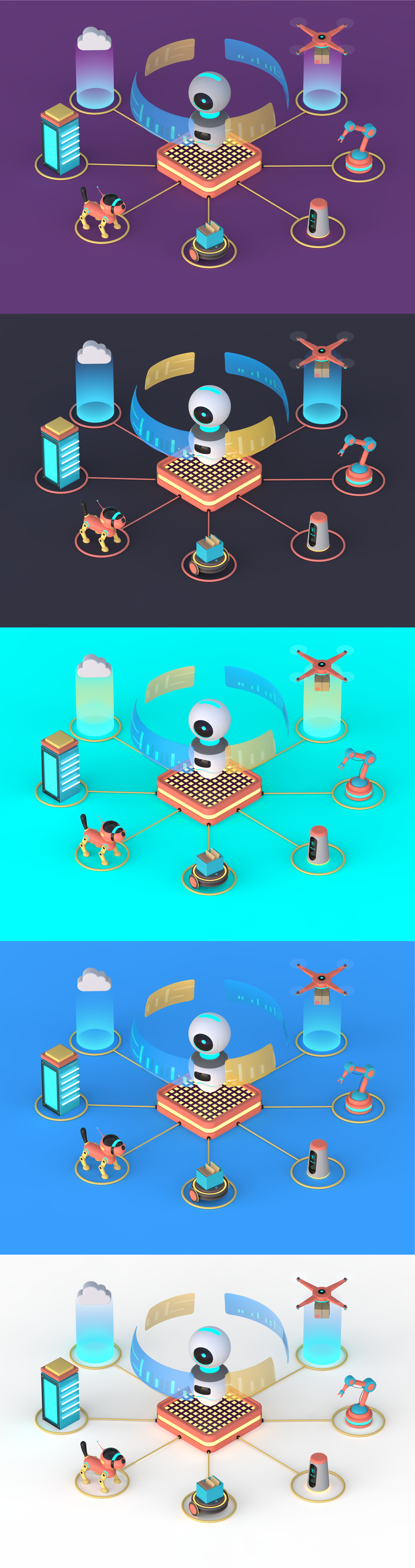 3D Artificial Intelligence Illustration Preview Image