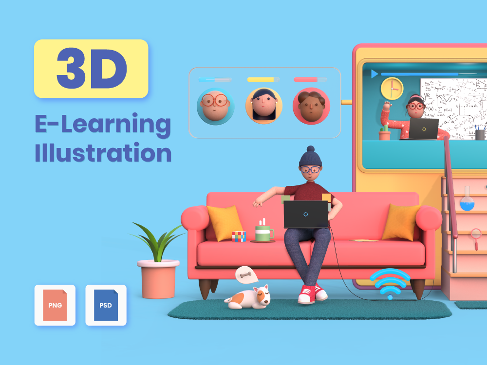3D E-Learning Illustration Featured Image