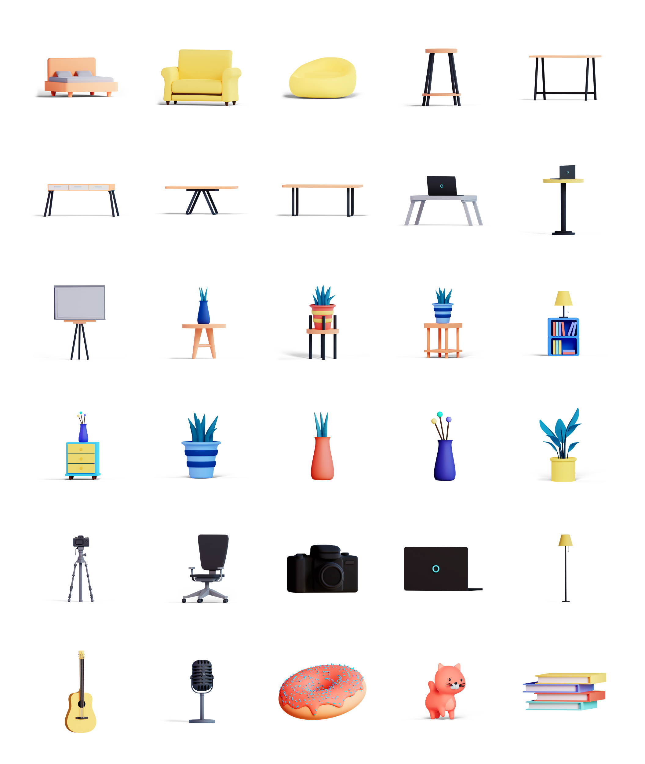 3D Illustration Objects Preview Image