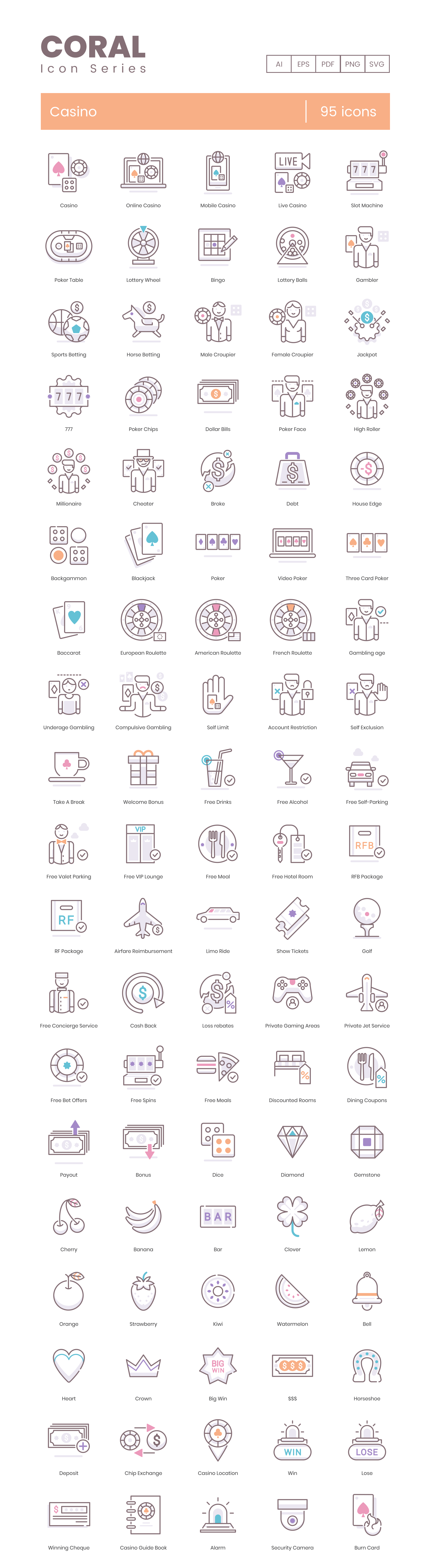 Casino Vector Icons Preview Image