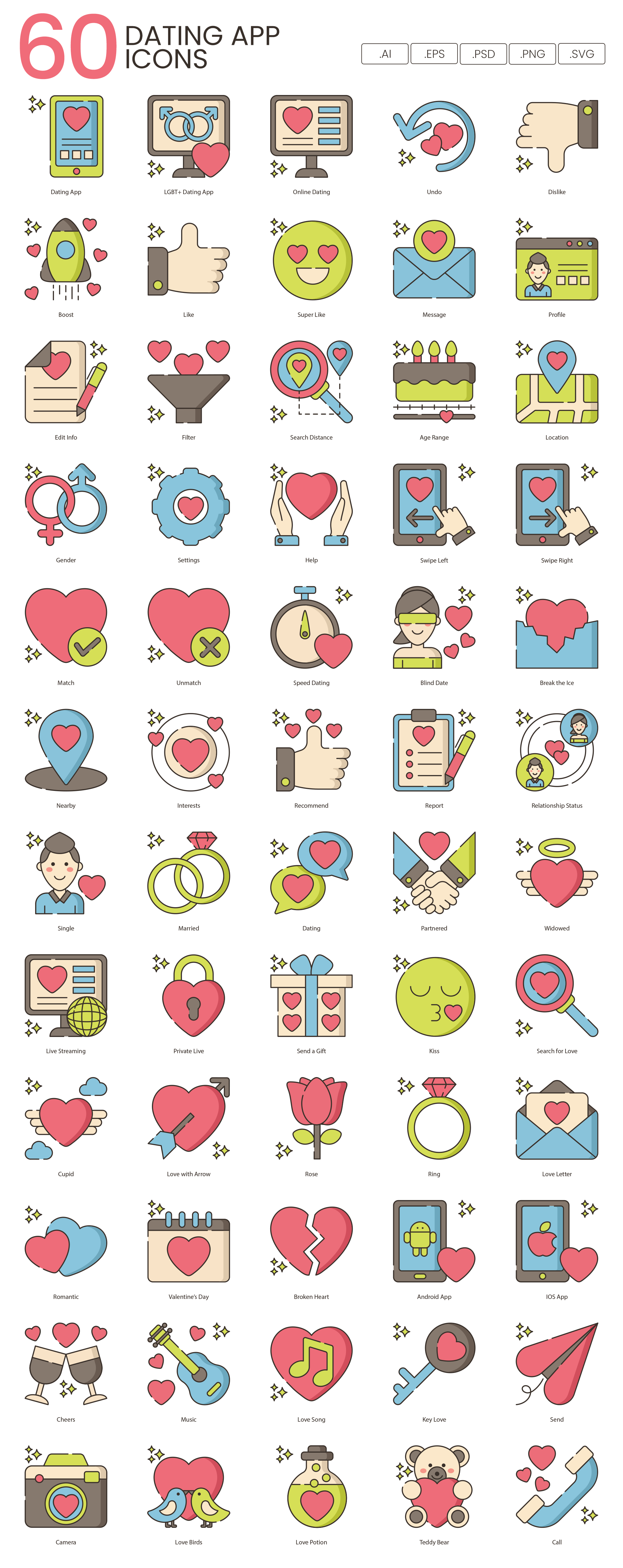 Preview Image for Dating App Icon Set