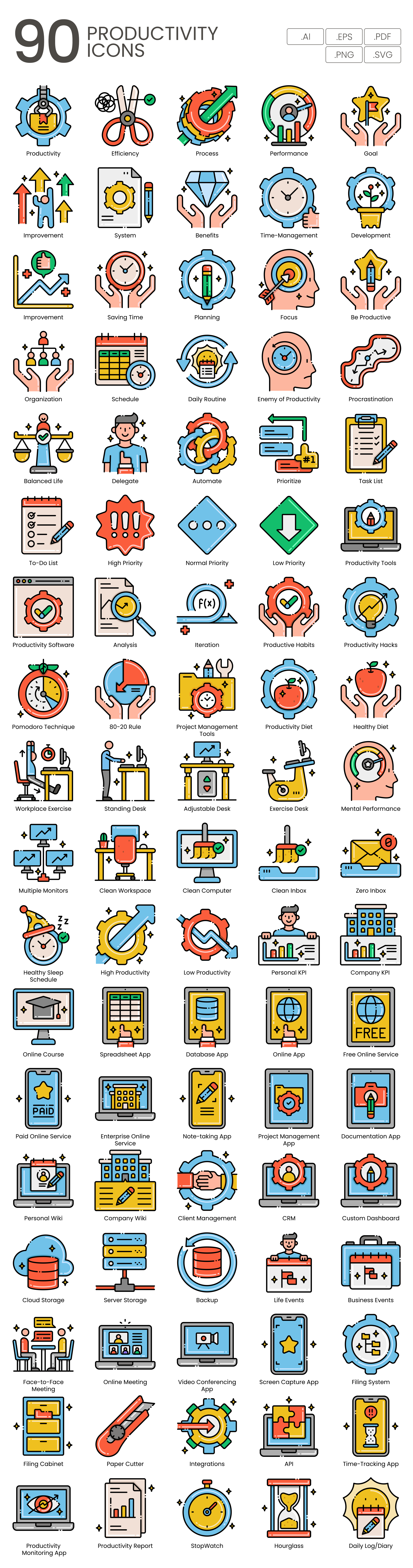 Efficiency and Productivity Vector Icons Preview Image