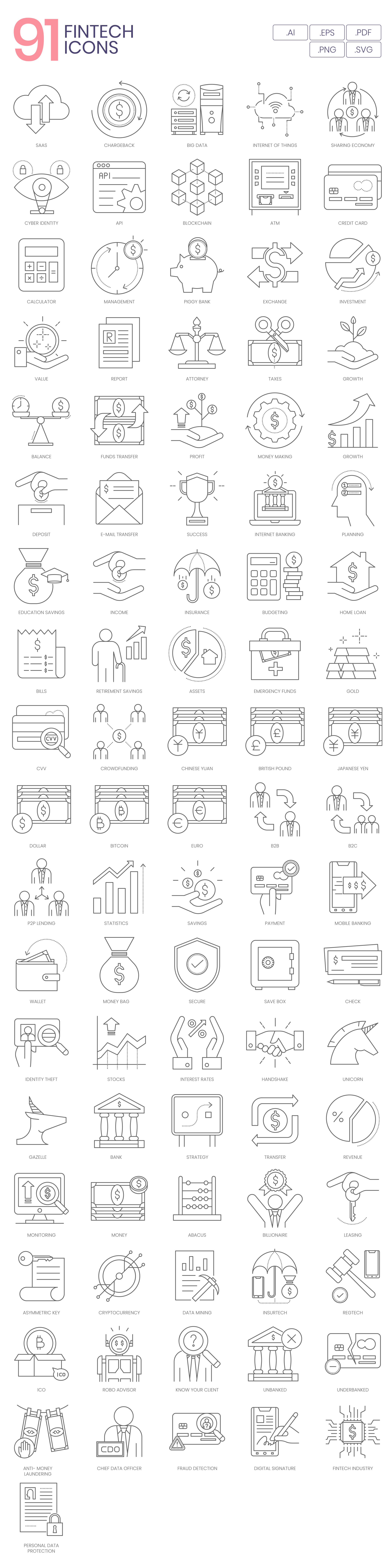Preview Image for Fintech Icon Set