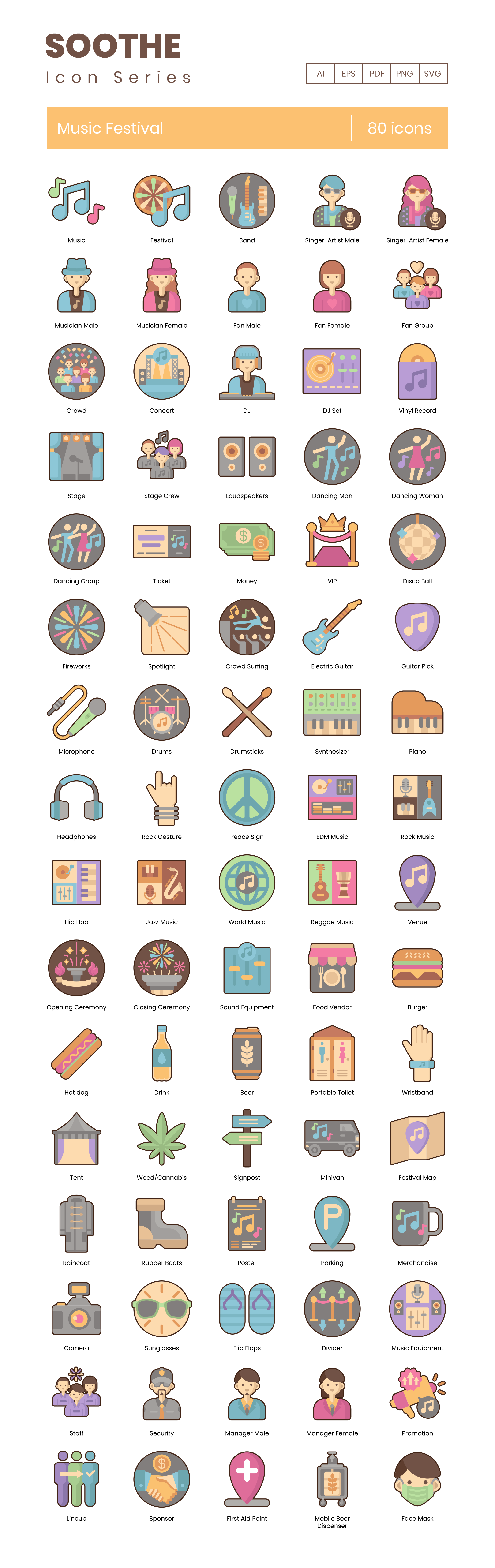 Music Festival Vector Icons Preview Image